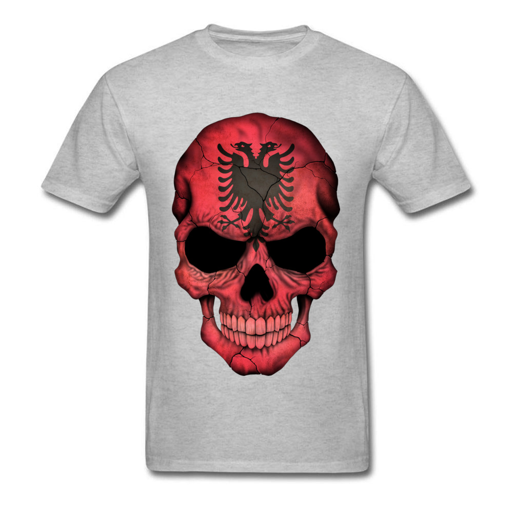 Albanian Flag Skull O-Neck T-Shirt NEW YEAR DAY Tops Tees Short Sleeve On Sale Cotton Casual Tops T Shirt Birthday Men's Albanian Flag Skull grey