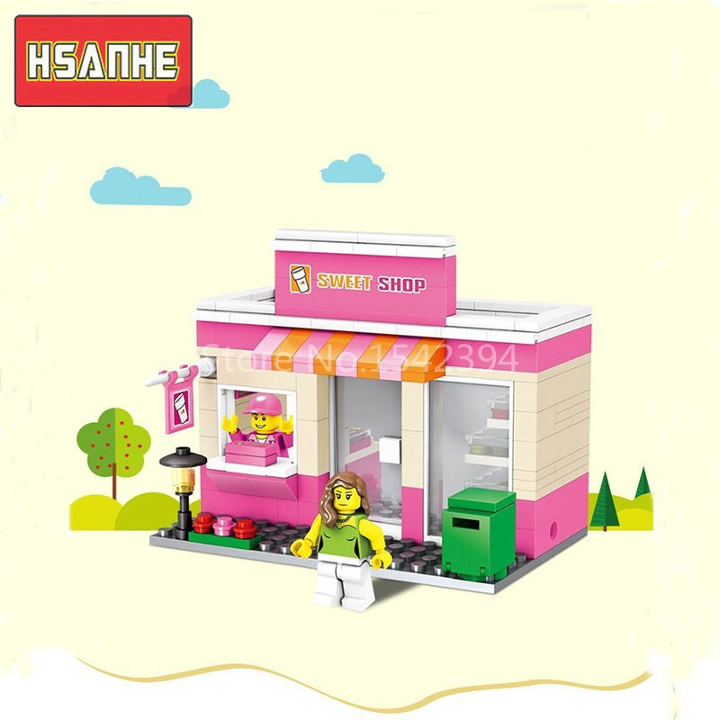 HSANHE Street Scene Architecture Series DIY Model Building Kits Brick Blocks Educational Toys For Children Best Gift For Friends 472pcs set banbao princess series castle building blocks girl friends favorite scene simulation educational assemble toys
