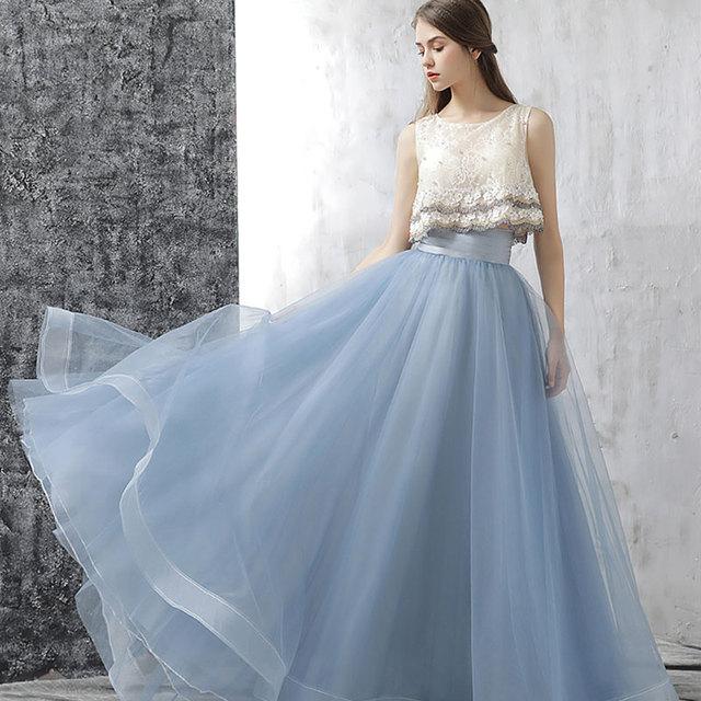 Women Banquet Dress 2018 Fashion Handmade Flowers Pearl Elegant Princess Hostess Dinner Long Beautiful Summer