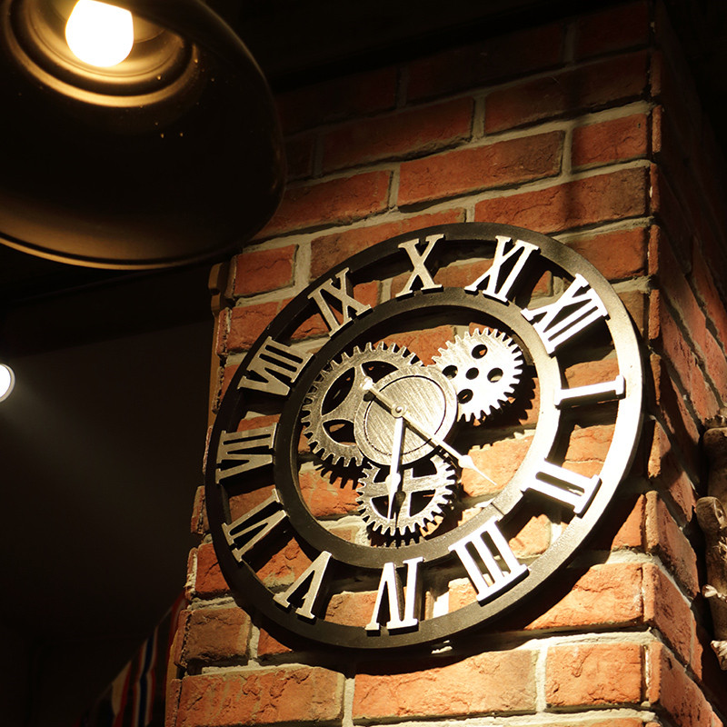 40CM 3D Metal Wall Clocks Circular Retro Roman Number  Iron Vintage Large Mute Decorative Wall Clock Wall Decoration Living