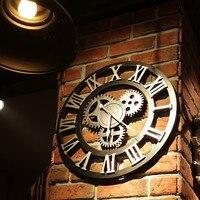 40CM 3D Metal Wall Clocks Circular Retro Roman Number Iron Vintage Large Mute Decorative Wall Clock Wall Decoration Living
