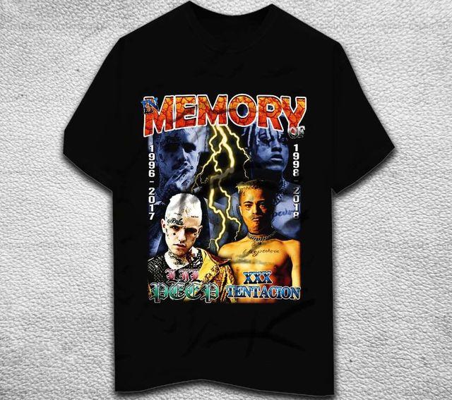 3419b1ca Vintage Design LIL PEEP & XXXTENTACION T-shirt Tribute Hip Hop tee t shirt  Short Sleeve 100% Cotton Man Tee Tops