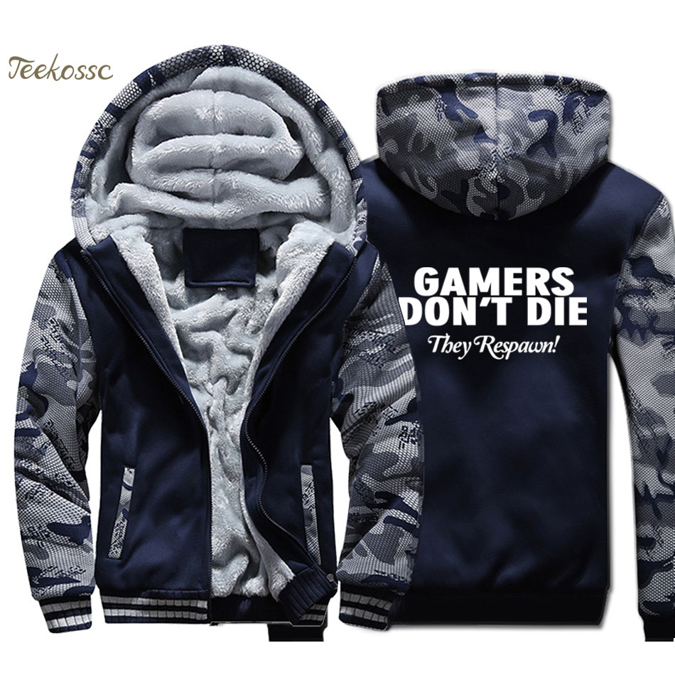 Gamers Don't Die They Respawn Hoodie Men Funny Novelty Sweatshirt Print Coat Winter Thick Fleece Warm Camouflage Jacket Homme