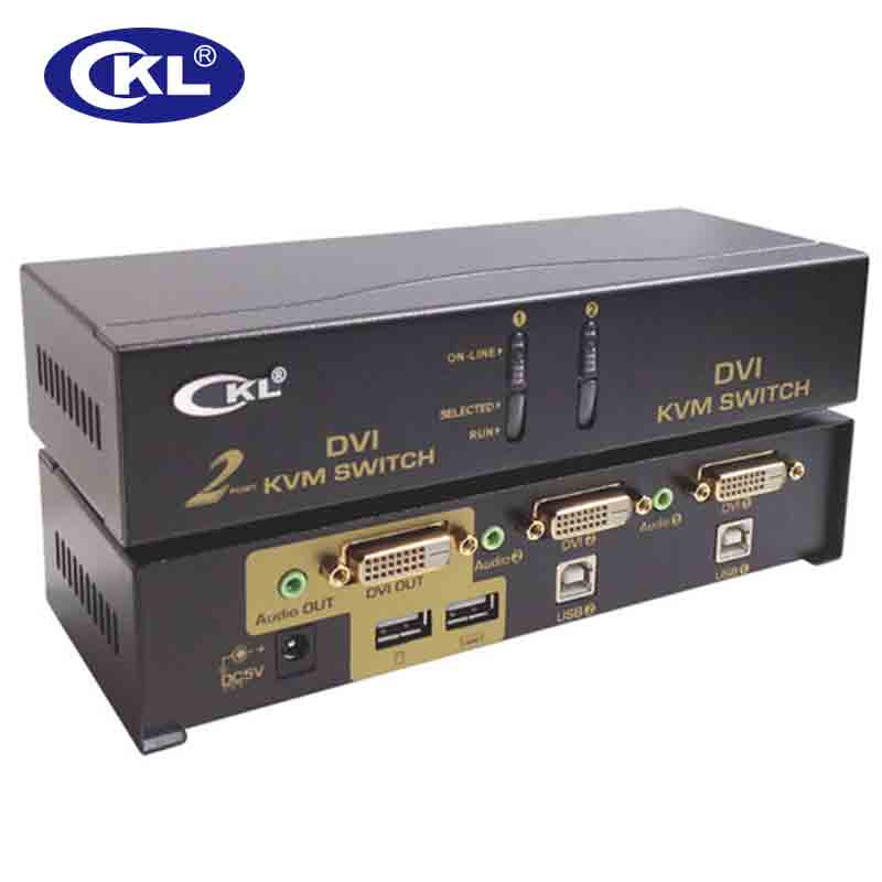 CKL 2 Port USB Black Metal DVI KVM Switch 2 In 1 Out Switcher For Keyboard Video Mouse With Audio Fully Support DVI HDCP CKL-92D