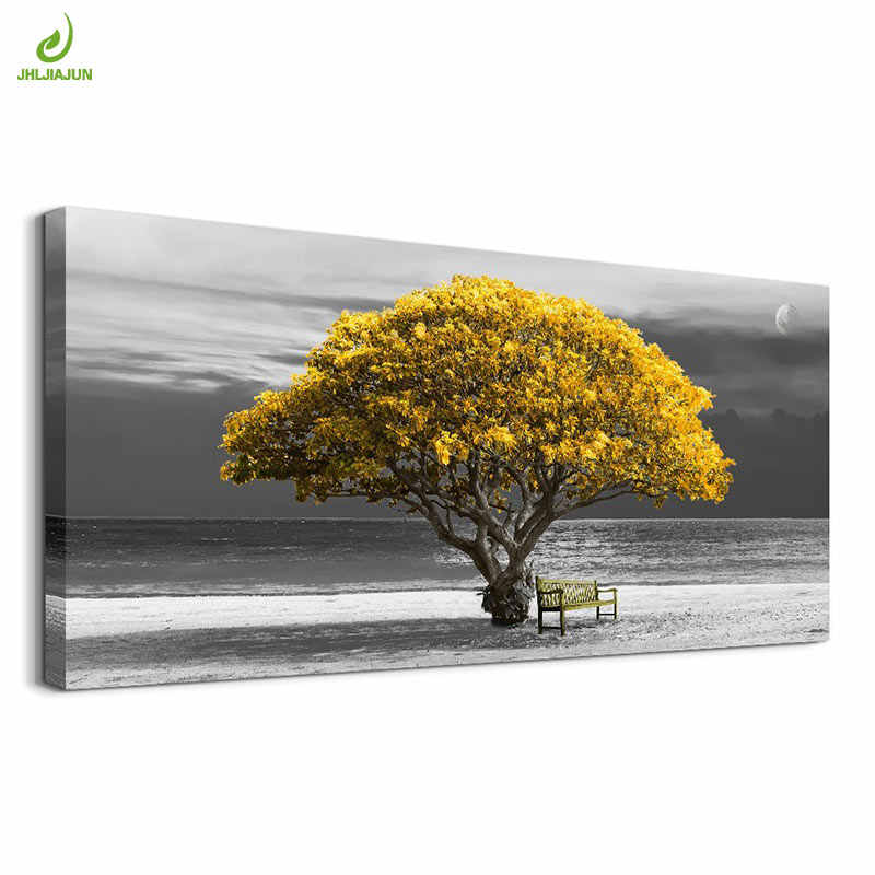 JHLJIAJUN Canvas Painting Beautiful Yellow Tree Beach Landscape Posters 3D Wall Art Picture Home Decor Wall Art For Living Room