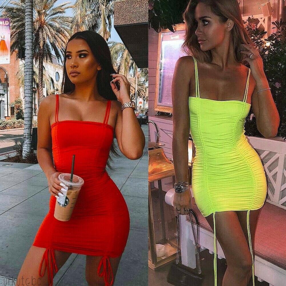 HTB1hYZoXBCw3KVjSZR0q6zcUpXaA Hirigin Spaghetti Strap Pleated Sexy Bodycon Dress Women Club Wear 2019 Fashion Neon Green Dresses Bandage Mini Dress FF46057