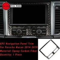 1pc Epoxy Carbon Fiber Car GPS Navigation Panel Trim Cover Frame Sticker Decoration for Porsche Macan 14 19 Interior Accessories