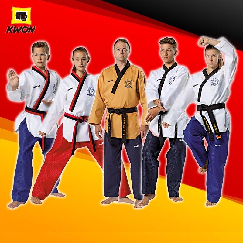 Taekwondo Suit Original Kwon Adult Children World Taekwondo Certification Poomsae Uniforms Junior Dan Senior Dan Poomsae