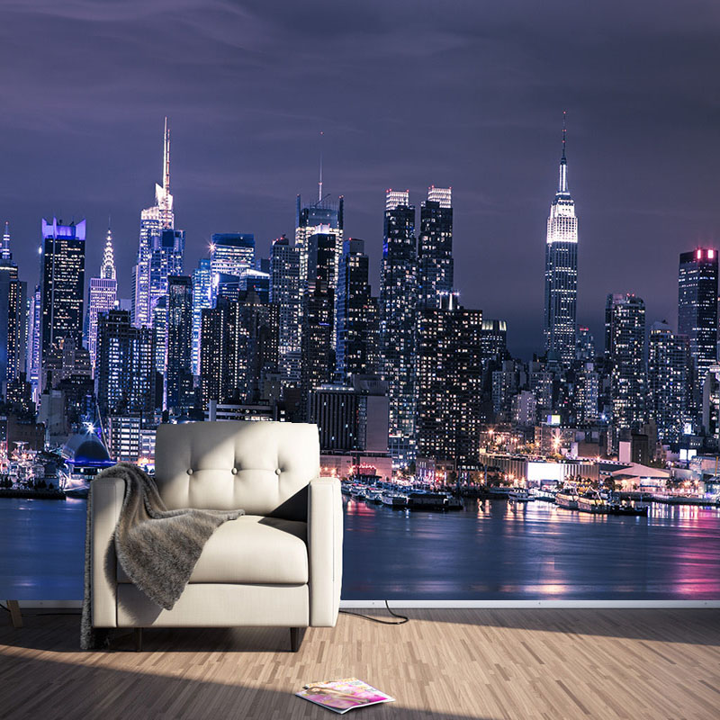 Custom 3D Non-woven Wallpaper Modern New York City Night View Living Room TV Background Wall Decor Mural Wallpapers 3D Parede