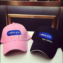 Black Pink I Miss You Letter Embroidery Baseball Cap Hip Hop For Men Women Bboy Hats Baseball Snapback Caps Male Bone Gorras