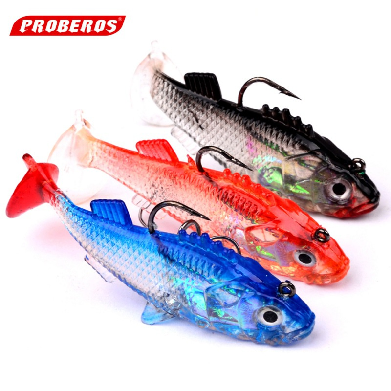 5Pcs/Lot Lead Fishing Lures With Soft Fishing Lure Single Hook Baits artificial bait jig wobblers rubber 76mm/16g 2018