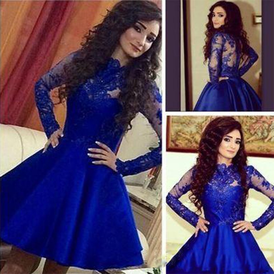 Beautiful Short Lace Prom Dress 2016 Satin Long Sleeve Ball Gown Prom Dresses Gowns For Prom High Neck Party Dresses Rm72 Gown Prom Prom Dresses 2016ball Gown Prom Dresses Aliexpress