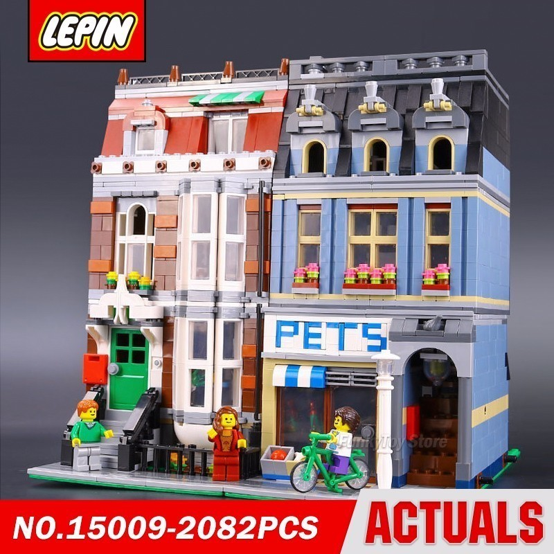 Lepin 15009 Pets Shop 10218 City Street Series Model Building Block Brick Kits Compatible Gift Toys in stock new lepin 17004 city street series london bridge model building kits assembling brick toys compatible 10214