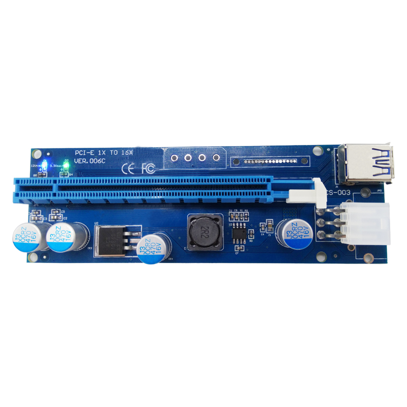 Superspeed usb 3.0 mini pci-e to pci-e 16x  pci-e pci e express 1x to 16x LED Light 6PIN Ming Card