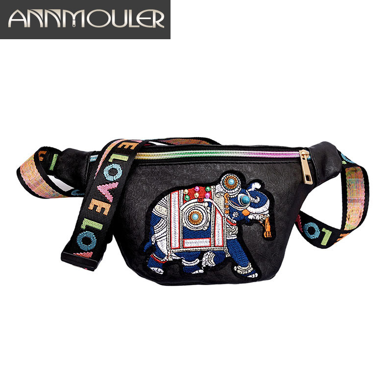 Annmouler Brand Women Waist Pack Pu Leather Waist Bag Elephant Fanny Pack Animal Girls Chest Bag 2 Colors Belt Phone Pouch
