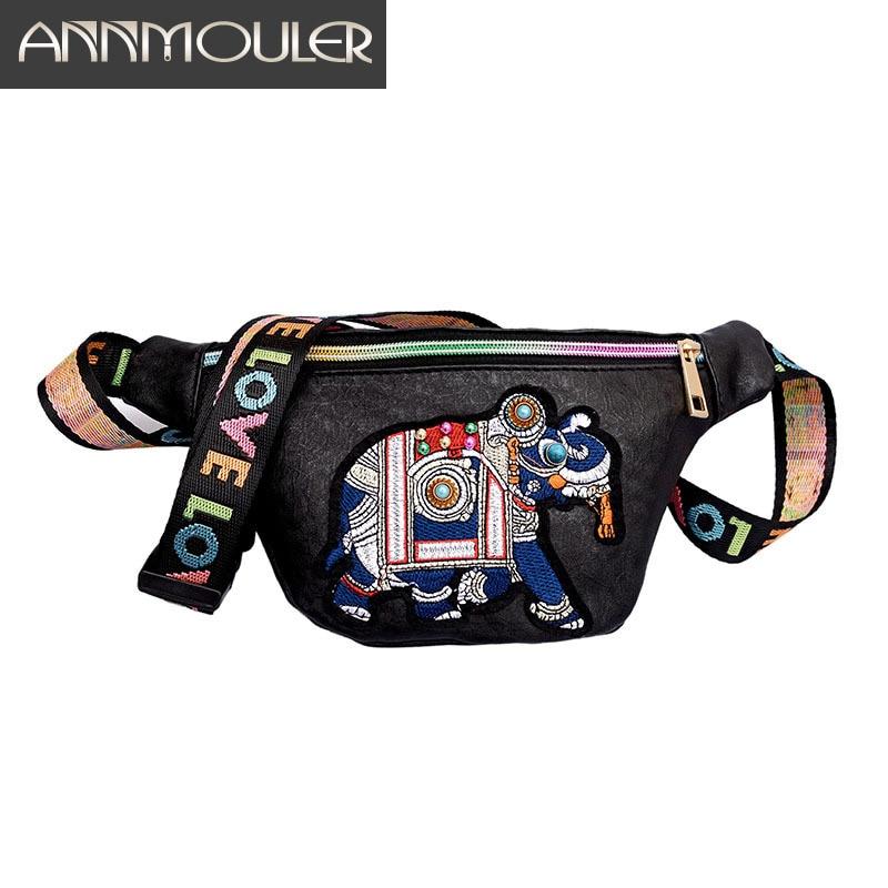 Annmouler Brand Women Waist Pack Pu Leather Waist Bag Elephant Fanny Pack Animal Girls Chest Bag 2 Colors Belt Phone Pouch