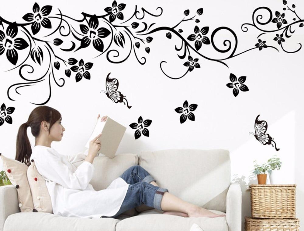 black flower vine vinyl wall stickers kids rooms home decor sofa