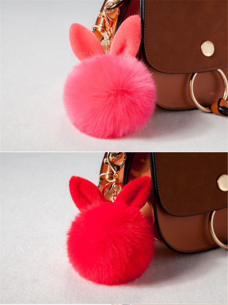 2017 Fur Pom Pom Keychain Fake Rabbit fur ball key chain porte clef pompom de fourrure pompon Bag Charms bunny keychain Keyring 32