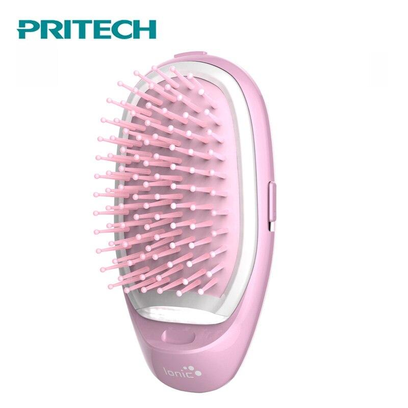 Pritech Mini Hair Comb Electric Massage Hair Brush Potable Comb Brush For Hair Take Out Anti -Static Girls Hair Brush