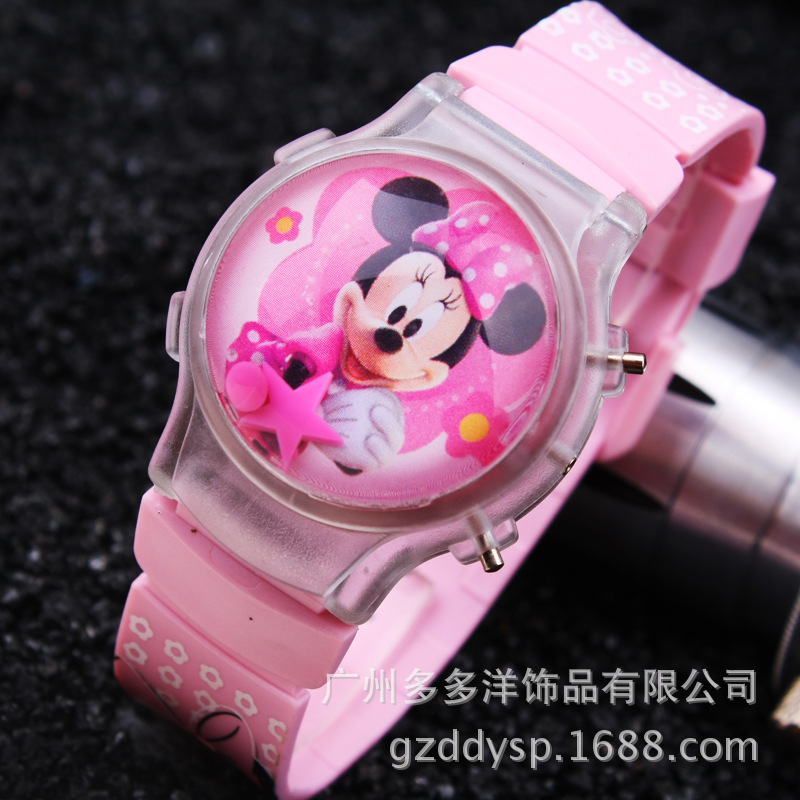 2015 New Fashion Boys Girls Silicone Digital Watch For Kids Mickey Minnie Cartoon Watch For Children Christmas Gift Clock Watch