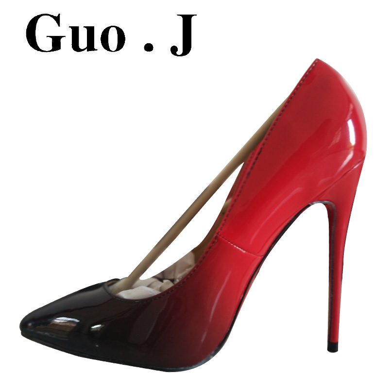 Fashion G J 12cm Red Bottom High heels font b shoes b font woman pointed toe