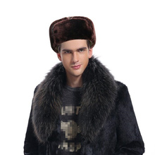 Caps Mask Fur Hats Russian Warm Winter New Black for Men Solid-Color Bomber with Thick