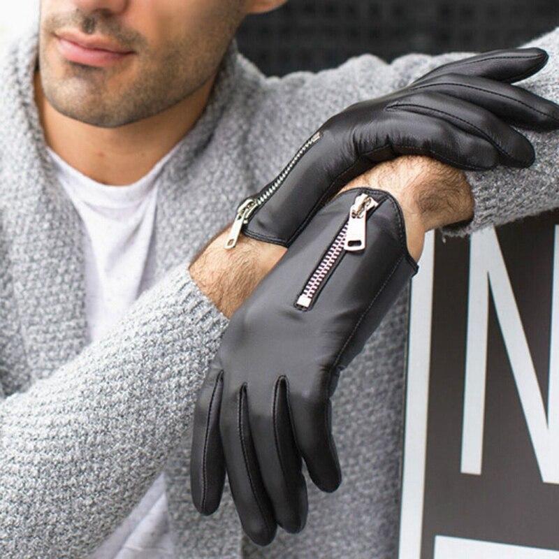 Mens Winter Leather Gloves Man Fashion Classic Short Black