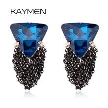 Фотография KAYMEN Women Fashion 3 Colors Triangular Crystal and Black Chains Tassels Statement Drop Earrings for Women Bijou