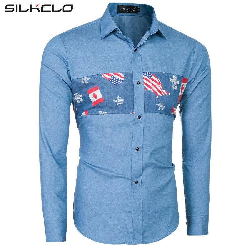 Brand Clothing Casual Shirts Long Sleeve Slim Fit National USA Flag Printed Men's Denim Shirt Male Clothes Blue Shirt
