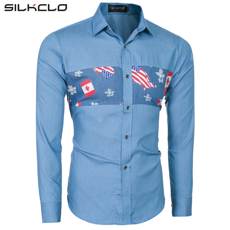 Brand Clothing Casual Shirts Long Sleeve Slim Fit National USA Flag Printed Men's Denim Shirt Male Clothes Blue Shirt