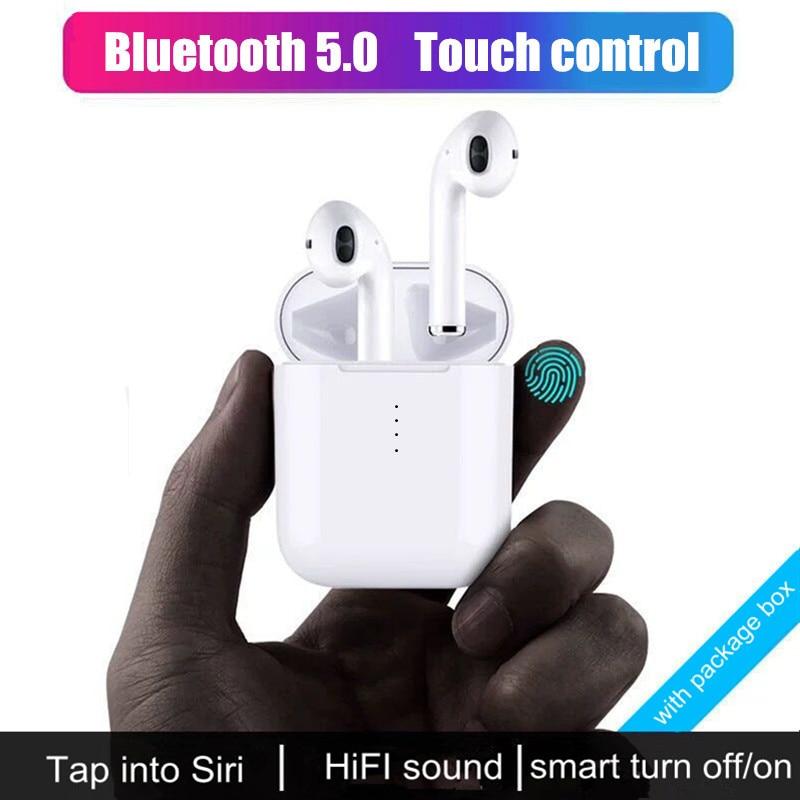 I10 СПЦ Bluetooth наушники Беспроводной наушники сенсорное управление наушники 3D объемного звучания и зарядный чехол для всех смартфонов