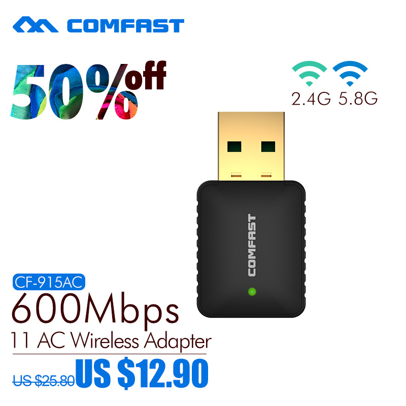 Comfast 2.4G+5.8G Usb WI FI Adapter 802.11AC Dual Band USB Wireless Adapter 600Mbps Ac WiFi Router Build-in 2dBi Wifi Antenna