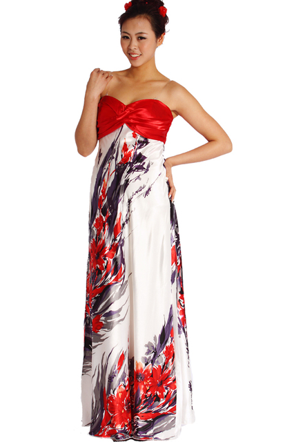 Printed evening dresses clearance