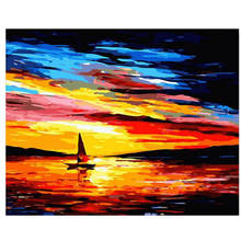 Landscape Painting For Living Room Decoration,Sunset Boat,Drawing By Numbers Wall Art