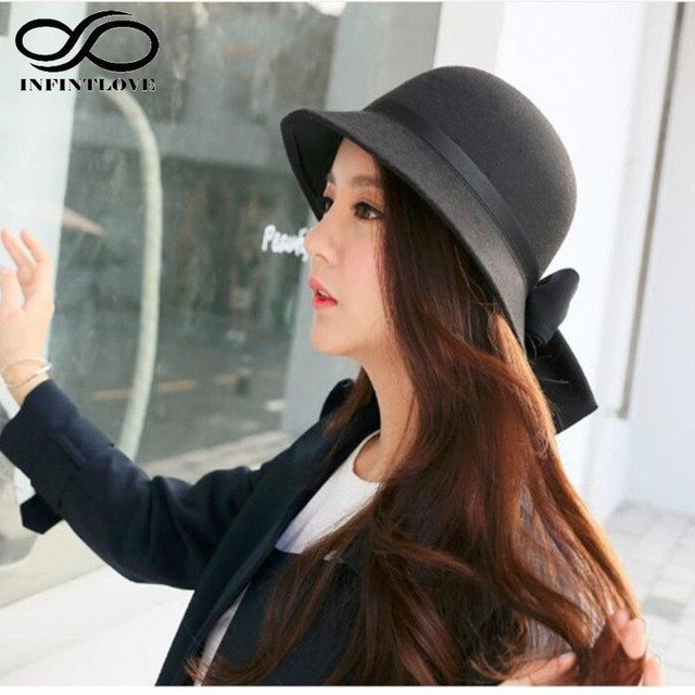 1ec485aad91 LUCKYLIANJI Fashion Women Wool Felt Dome Round Top Fedora Bowler Hat Lady  Vintage Elegant Bowknot Cloche Warm Winter Caps