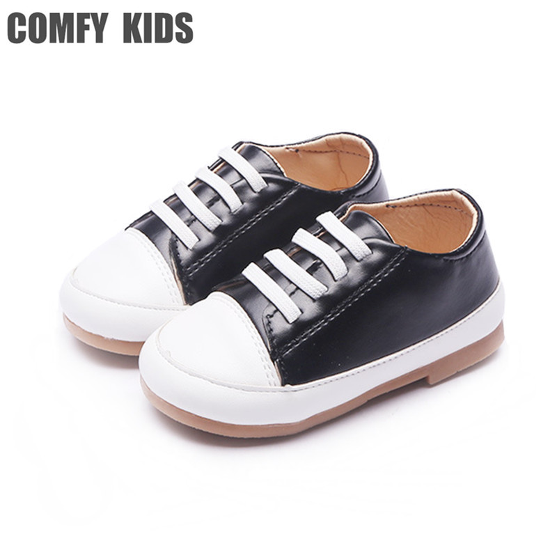 COMFY KIDS Pu leather Shoes children fashion flat with shoes girls boys sneakers baby toddler shoes size 21-30 kids leather shoe