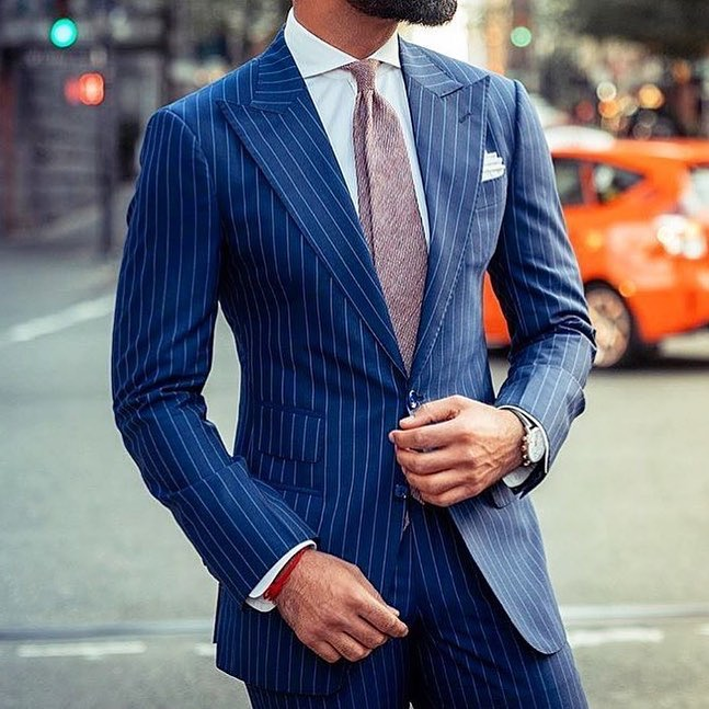 temperament shoes classic shoes online retailer US $67.82 30% OFF|Navy Blue Pinstripe Suit Men Blazer Formal Night Men Suit  With Pants Business Terno Tuxedo Slim Jacket Costume Homme Custom Made-in  ...