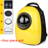 Space Cat Bag Shoulder Puppy Breathable Portable Cat Zipper Space Capsule Travel Backpack Out Yellow Package Cat Space Capsule