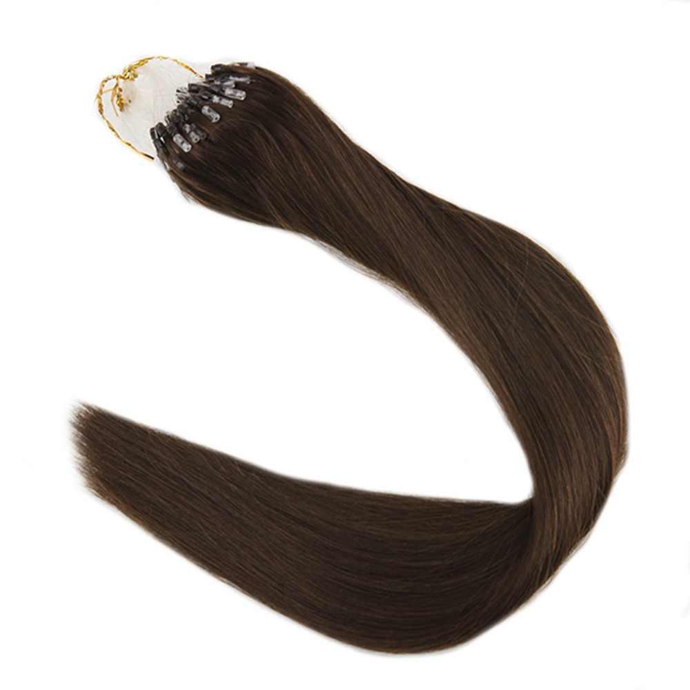 Полный блеск сплошной цвет #4 Средний коричневый 1 г на нитке 50 грамм посылка шелковистые прямые микро петля кольцо волосы Remy шарик человеческие волосы