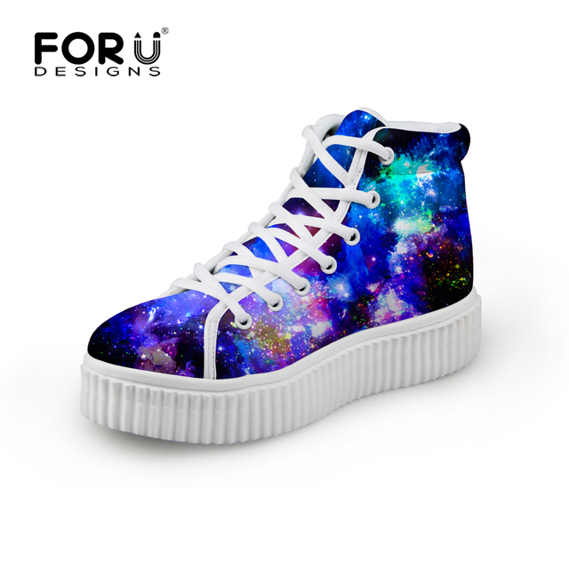 Classic Style Women Height Increasing Platform Wedge Shoes 3D Galaxy Lace-up Female Casual Shoe Universe Space Star Pattern Shoe