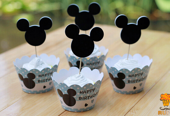 120pcs Mickey Mouse Cupcake Wrappers Toppers Cake Picks Decorations Kids  Boy Birthday Party Baby Shower Supplies