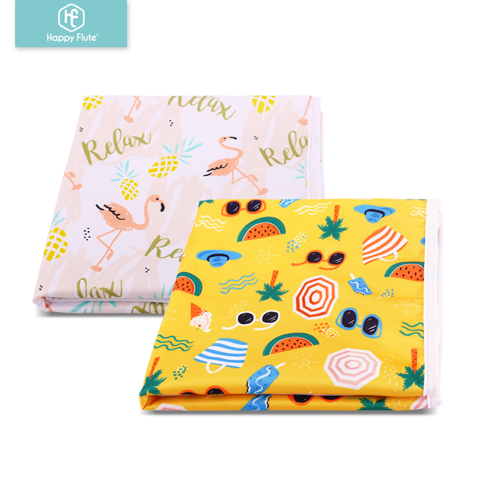 Happy Flute 2Pcs/Pack Foldable Washable Compact Travel Nappy Diaper Changing Mat Waterproof Baby Floor Mat Change Play Mat