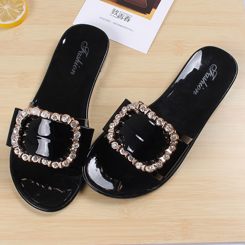 Женские вьетнамки тапочки домашние туфли женские ботинки со стразами летние пляжные женские туфли без задника сандалии тапочки на плоской ...