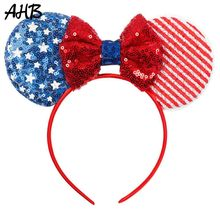 AHB 4th of July Sequin Ears Hair Band for Girls Striped Stars Blue/Red/White Bows Headband Party Accessories