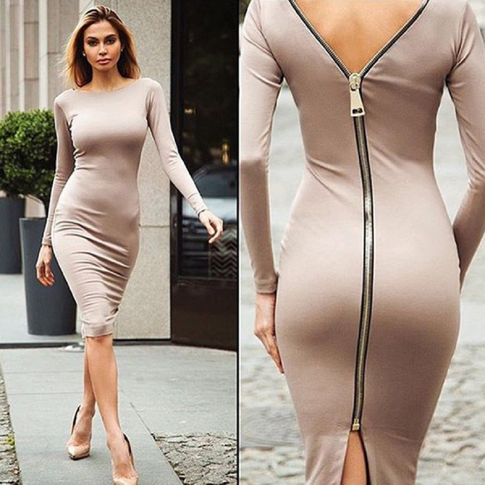 VESTLINDA Plus Size Robe Sexy Femme Midi Sheath Bodycon Dress Long Sleeve Elegant Dresses Women Back Zipper Pencil Tight Dress 10