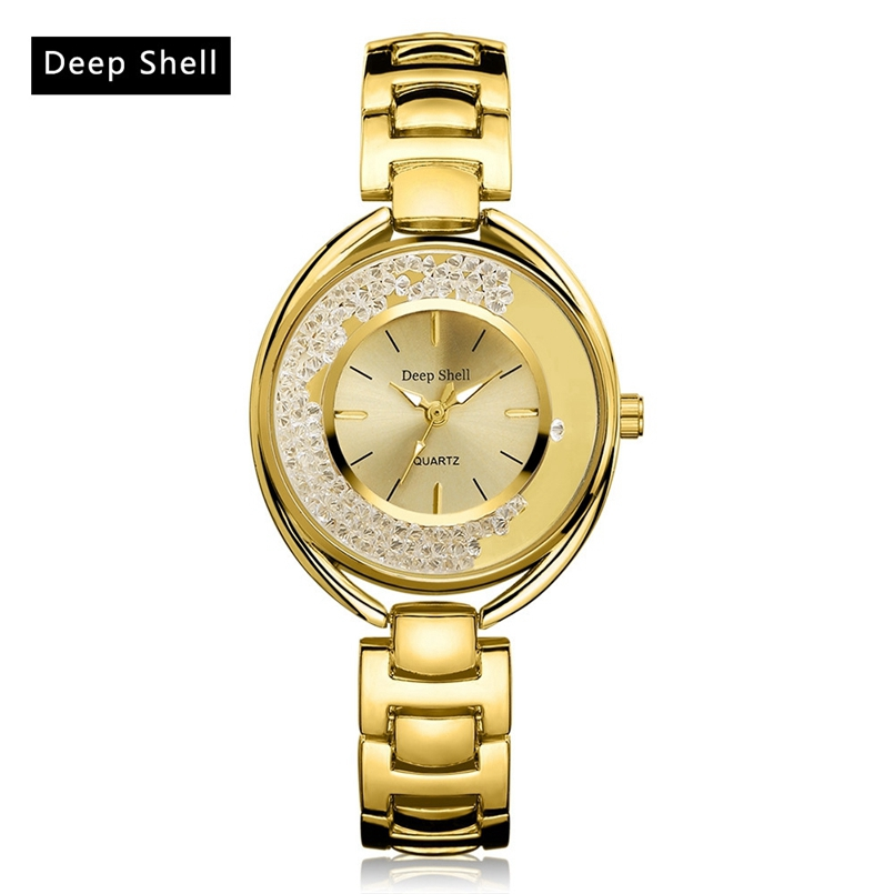Deepshell Brand Gold Women Bracelet Watches Ladies Crystal Quartz Watch Women Wristwatches Relogio Masculino Dropship