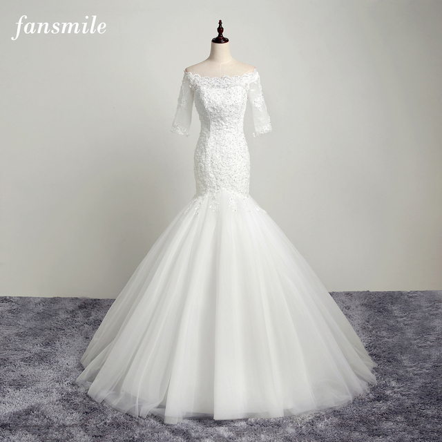 1c159449f7d37 Fansmile Real Photo Open Back Lace Mermaid Wedding Dresses 2019 Customsize Plus  Size Bridal Wedding Gowns Free Shipping FSM-102M
