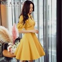Original vestidos de verão 2017 nova moda coreana temperamento grande hem cintura alta sólidos casual vestido de mulheres por atacado