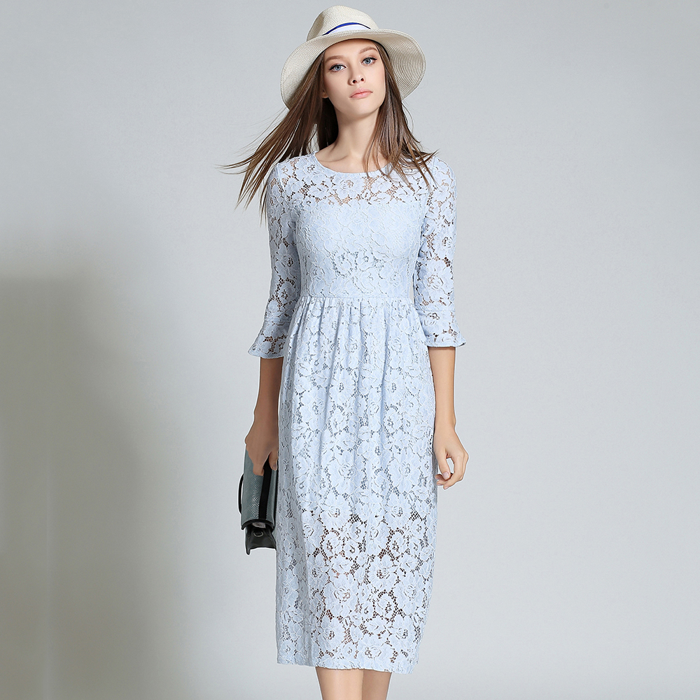 Blue Lace Dresses Women Pink High Waist O Neck Vestido De