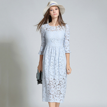 Azul Vestidos de Renda Rosa Das Mulheres de Cintura Alta O-pescoço Vestido de Renda Floral Oco Out Vestido Femme Manga Alargamento Plus Size robe N609YS